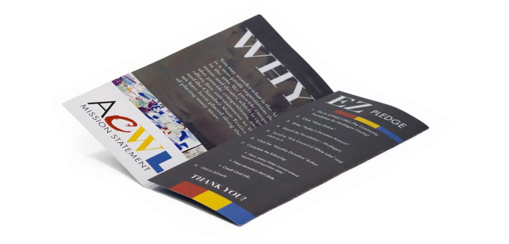 trifold brochure halfway open