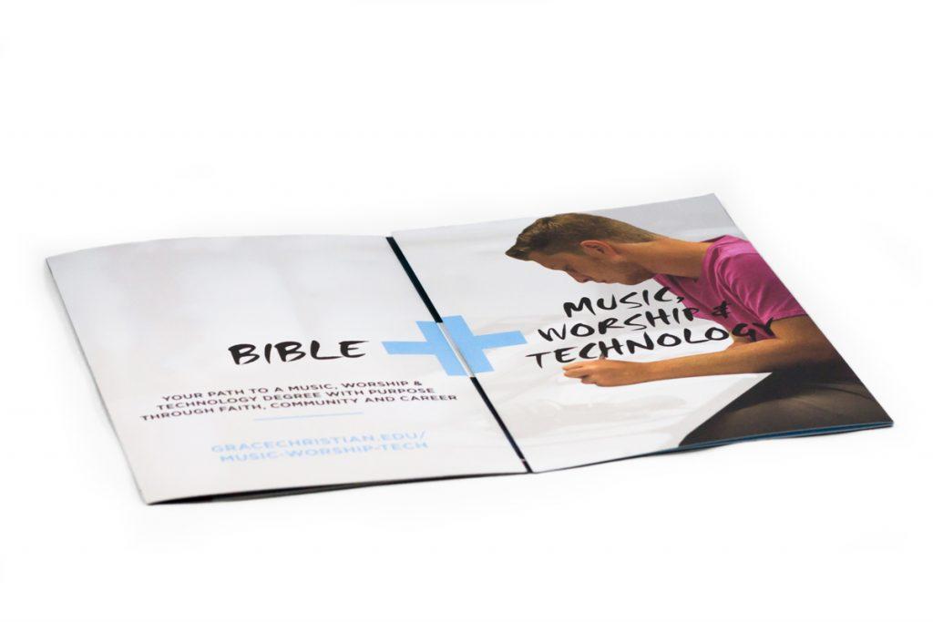 double gate fold brochure half way open